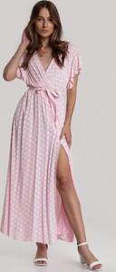 Sukienka Renee z dekoltem w kształcie litery v z krótkim rękawem maxi