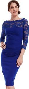 Niebieska sukienka stylovesukienki wyszczuplająca midi