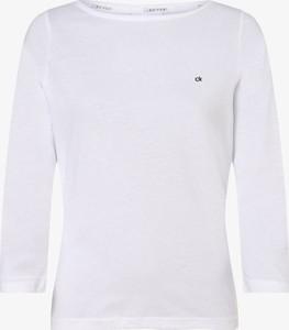 T-shirt Calvin Klein z długim rękawem z dekoltem w łódkę w stylu casual