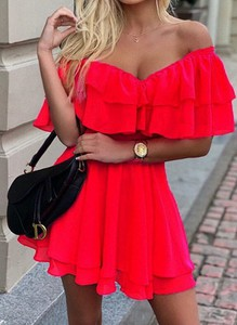 Czerwona sukienka Cikelly z krótkim rękawem mini trapezowa