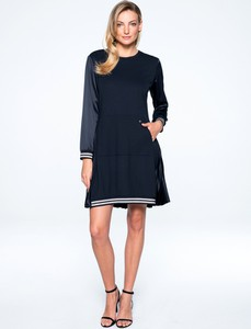 Granatowa sukienka L'AF z długim rękawem z tkaniny