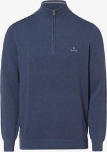 Niebieski sweter Gant w stylu casual ze stójką