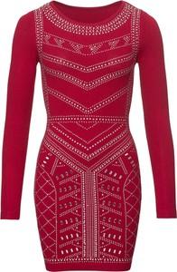Czerwona sukienka bonprix BODYFLIRT boutique mini z okrągłym dekoltem z długim rękawem