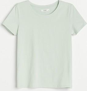 Zielony t-shirt Reserved z krótkim rękawem w stylu casual z okrągłym dekoltem