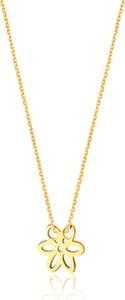 Caviallo Srebrny naszyjnik z kwiatkiem, pozłacany 24k złotem