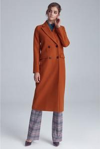Pomarańczowy płaszcz Nife z wełny