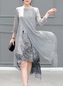 Sukienka Cikelly midi z długim rękawem z okrągłym dekoltem