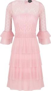 Sukienka Just Cavalli z długim rękawem z okrągłym dekoltem midi