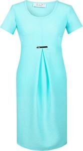 Turkusowa sukienka Fokus z tkaniny midi z okrągłym dekoltem