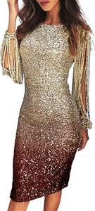 Złota sukienka Cikelly z długim rękawem
