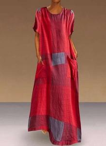 Czerwona sukienka Cikelly maxi z okrągłym dekoltem
