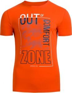 Pomarańczowy t-shirt Outhorn z bawełny z krótkim rękawem