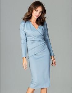 Niebieska sukienka LENITIF ołówkowa midi