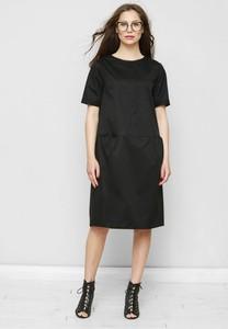 Czarna sukienka Freeshion z bawełny z krótkim rękawem