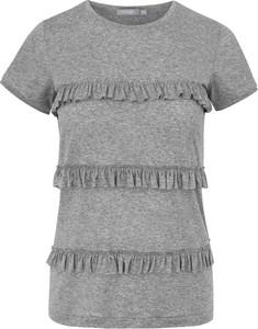 Bluzka Manifiq&Co. z tkaniny z okrągłym dekoltem z krótkim rękawem