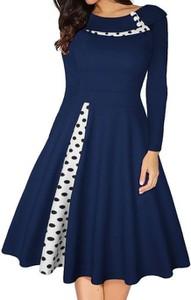 Niebieska sukienka Cikelly z okrągłym dekoltem