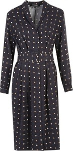 Granatowa sukienka Top Secret z długim rękawem w stylu casual