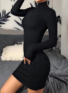 Sukienka Arilook z golfem mini z długim rękawem