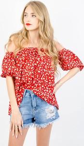 Czerwona bluzka Olika z krótkim rękawem