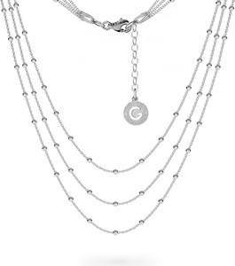GIORRE POTRÓJNY NASZYJNIK ŁAŃCUSZEK CHOKER BAZA DO CHARMSÓW SREBRO 925 : Długość (cm) - 38 + 42 + 45 + 5, Kolor pokrycia srebra - Pokrycie Jasnym Rodem