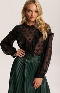 Czarna bluzka Renee z okrągłym dekoltem w stylu boho z długim rękawem