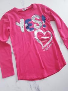 Różowa tunika dziewczęca e-lily.pl dla dziewczynek z bawełny