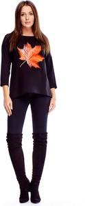 Granatowa bluzka Ptakmoda.com z dekoltem w łódkę w stylu casual z długim rękawem