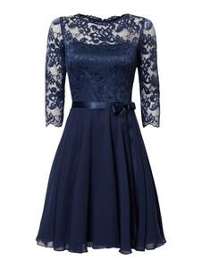 Granatowa sukienka Swing z długim rękawem z szyfonu z okrągłym dekoltem