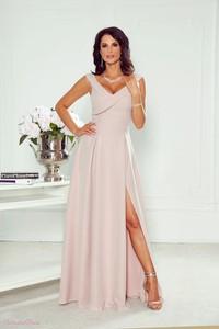 Różowa sukienka Paris z dekoltem w kształcie litery v na ramiączkach maxi