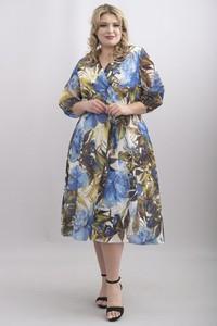 Sukienka KARKO midi z długim rękawem z tkaniny