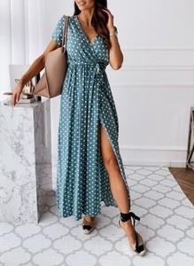 Sukienka Cikelly kopertowa z krótkim rękawem midi