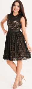 Czarna sukienka Butik Ecru z bawełny rozkloszowana