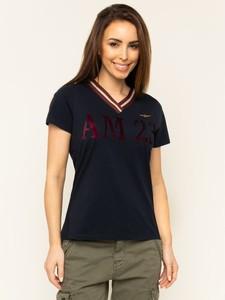 Czarny t-shirt Aeronautica Militare w militarnym stylu z dekoltem w kształcie litery v