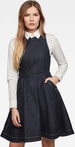 Granatowa sukienka G-Star Raw mini z długim rękawem z jeansu