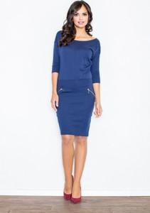 Niebieska sukienka Figl z bawełny z długim rękawem