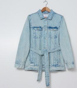 House - Denimowa kurtka z wiązanym paskiem - Niebieski