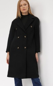 Czarny płaszcz born2be krótki bez kaptura w stylu casual
