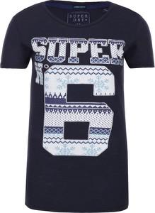 Granatowy t-shirt Superdry z krótkim rękawem