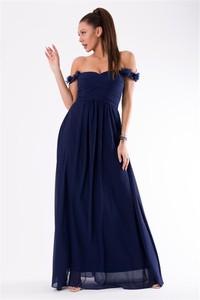 Niebieska sukienka Eva&Lola hiszpanka maxi bez rękawów