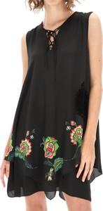 Czarna sukienka Desigual trapezowa bez rękawów mini
