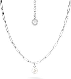 GIORRE Srebrny naszyjnik z okrągłą perłą, srebro 925 : Kolor pokrycia srebra - Platyną