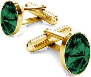 GIORRE Srebrne spinki do mankietu z owalnym kryształem swarovskiego 925 : Kolor kryształu SWAROVSKI - Emerald, Kolor pokrycia srebra - Pokrycie Żółtym 24K Złotem