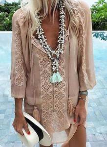 Brązowa sukienka Cikelly z długim rękawem z dekoltem w kształcie litery v w stylu casual