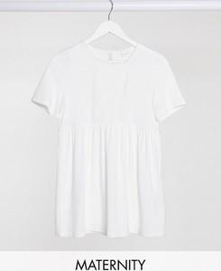 Mama Licious Mamalicious – Biały T-shirt z baskinką