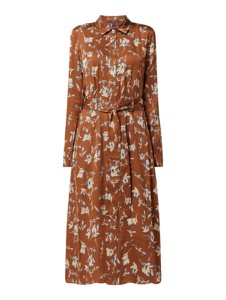 Brązowa sukienka Esprit w stylu casual maxi z długim rękawem