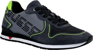 Granatowe buty sportowe Guess sznurowane ze skóry