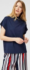Niebieska bluzka Moodo z krótkim rękawem w stylu casual
