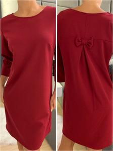 Czerwona sukienka ModnaKiecka.pl mini z długim rękawem prosta