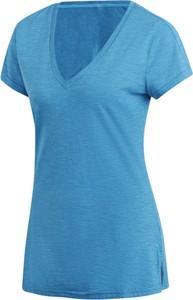 Niebieski t-shirt Adidas z dzianiny