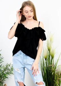Czarna bluzka Olika z krótkim rękawem z żabotem